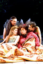 'A MIDSUMMER NIGHT'S DREAM' (Shakespeare)~Titania: 'Methought I was enamour'd of an ass'   l-r: Michael Siberry (Oberon),  ~Jemma Redgrave (Titania), Dawn French (Bottom), Lee Ingleby (Puck)~Albery Th...