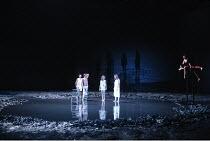 A MIDSUMMER NIGHT'S DREAM  by Shakespeare  design: Michael Levine  lighting: Jean Kalman  director: Robert Lepage   l-r: Simon Coates (Demetrius), Rupert Graves (Lysander), Indra Ove (Hermia), Rudi...