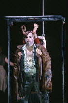 A MIDSUMMER NIGHT'S DREAM  by Shakespeare  design: Michael Levine  lighting: Jean Kalman  director: Robert Lepage   Timothy Spall (Nick Bottom) with Puck's feet as ass ears, Angela Laurier (Puck)...