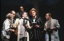 the Mechanicals rehearsing - l-r: Jimmy Gardner (Snug), Graham Turner (Flute), (rear) Dhobi Oparei (Starveling), Paul Webster (Quince), David Troughton (Bottom), David Shaw-Parker (Snout) in A MIDSUMM...