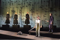 MACBETH by Shakespeare design: Stewart Laing lighting: Mimi Jordan Sherin fights arranger:Terry King director: Tim Albery ~I/iii - Macbeth & Banquo visit witches - 2nd right: Philip Quast (Banquo)   r...
