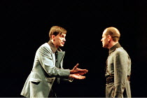 MACBETH by Shakespeare design: Stewart Laing lighting: Mimi Jordan Sherin fights arranger:Terry King director: Tim Albery   l-r: Sebastian Harcombe (Malcolm), Colum Convey (Macduff) Royal Shakespear...