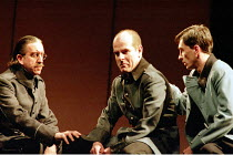 MACBETH by Shakespeare design: Stewart Laing lighting: Mimi Jordan Sherin fights arranger:Terry King director: Tim Albery   l-r: Robert Demeger (Ross), Colum Convey (Macduff), Sebastian Harcombe (Mal...