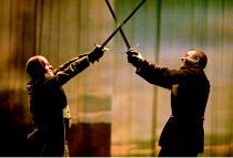 MACBETH by Shakespeare design: Stewart Laing lighting: Mimi Jordan Sherin fights arranger:Terry King director: Tim Albery   V/viii - l-r: Colum Convey (Macduff), Roger Allam (Macbeth) Royal Shakespe...