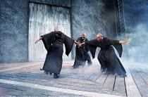 MACBETH by Shakespeare design: Bruno Santini lighting: Ben Ormerod director: James Roose-Evans ~~the (male) witches~Ludlow Castle Open Air Theatre, Ludlow Festival, Shropshire, England  26/06/2001 ~(c...