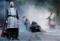 MACBETH by Shakespeare design: Bruno Santini lighting: Ben Ormerod director: James Roose-Evans ~~l-r: Peter Lindford (Macbeth), the witches, Gerard Logan (Banquo)~Ludlow Castle Open Air Theatre, Ludlo...