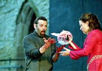 MACBETH by Shakespeare design: Bruno Santini lighting: Ben Ormerod director: James Roose-Evans ~~Peter Lindford (Macbeth), Cathy Owen (Lady Macbeth)~Ludlow Castle Open Air Theatre, Ludlow Festival, Sh...
