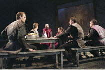 MACBETH   by Shakespeare   design: Bruno Santini   lighting: Ben Ormerod   director: James Roose-Evans ~~III/iv - Macbeth 'sees' Banquo's ghost - centre: Peter Lindford (Macbeth), Cathy Owen (Lady Mac...