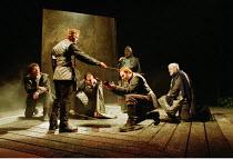 MACBETH   by Shakespeare   design: Bruno Santini   lighting: Ben Ormerod   director: James Roose-Evans ~~final scene: Malcolm (Peter Bramhill) makes Macduff (Keith Dunphy) an Earl~Ludlow Castle Open A...
