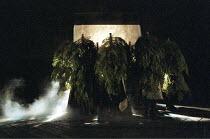 MACBETH   by Shakespeare   design: Bruno Santini   lighting: Ben Ormerod   director: James Roose-Evans ~~'advancing forest' - Birnam Wood nr. Dunsinane~Ludlow Castle Open Air Theatre, Ludlow Festival,...