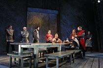 MACBETH   by Shakespeare   design: Bruno Santini   lighting: Ben Ormerod   director: James Roose-Evans ~~(rear centre) Cathy Owen (Lady Macbeth), (standing, right) Peter Lindford (Macbeth)~Ludlow Cast...