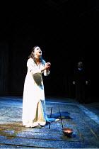 MACBETH by Shakespeare design: Bruno Santini lighting: Ben Ormerod director: James Roose-Evans ~~Cathy Owen (Lady Macbeth)~Ludlow Castle Open Air Theatre, Ludlow Festival, Shropshire, England   26/06/...