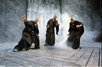 MACBETH   by Shakespeare   design: Bruno Santini   lighting: Ben Ormerod   director: James Roose-Evans ~~the (male) witches~Ludlow Castle Open Air Theatre, Ludlow Festival, Shropshire, England  26/06/...
