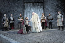 MACBETH   by Shakespeare   design: Bruno Santini   lighting: Ben Ormerod   director: James Roose-Evans ~~centre: (kneeling) Peter Lindford (Macbeth), David Pearson (Duncan, King of Scotland)~Ludlow Ca...