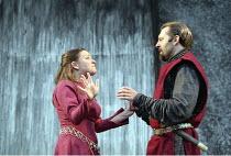 MACBETH by Shakespeare design: Bruno Santini lighting: Ben Ormerod director: James Roose-Evans ~~I/v: Cathy Owen (Lady Macbeth), Peter Lindford (Macbeth)~Ludlow Castle Open Air Theatre, Ludlow Festiva...