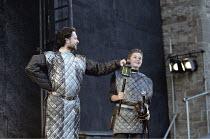 MACBETH   by Shakespeare   design: Bruno Santini   lighting: Ben Ormerod   director: James Roose-Evans ~~III/i - l-r: Gerard Logan (Banquo), Nicholas Woodman (Fleance)~Ludlow Castle Open Air Theatre,...
