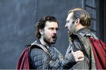 MACBETH   by Shakespeare   design: Bruno Santini   lighting: Ben Ormerod   director: James Roose-Evans ~~I/iii - l-r: Gerard Logan (Banquo), Peter Lindford (Macbeth)~Ludlow Castle Open Air Theatre, Lu...