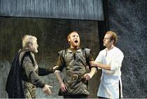 MACBETH   by Shakespeare   design: Bruno Santini   lighting: Ben Ormerod   director: James Roose-Evans ~~II/iii - centre: Keith Dunphy (Macduff) has discovered the murdered King Duncan~Ludlow Castle O...