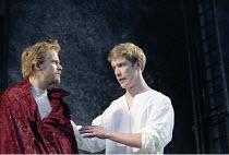 MACBETH   by Shakespeare   design: Bruno Santini   lighting: Ben Ormerod   director: James Roose-Evans ~~II/iii - l-r: Peter Bramhill (Malcolm), John Read (Donalbain)~Ludlow Castle Open Air Theatre, L...