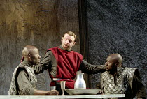 MACBETH   by Shakespeare   design: Bruno Santini   lighting: Ben Ormerod   director: James Roose-Evans ~~III/i - centre: Peter Lindford (Macbeth) hires two murderers~Ludlow Castle Open Air Theatre / L...