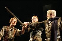 MACBETH   by Shakespeare   design: Bruno Santini   lighting: Ben Ormerod   director: James Roose-Evans ~~IV/iii - l-r: Peter Bramhill (Malcolm), Keith Dunphy (Macduff), Philip Grout (Ross)~Ludlow Cast...