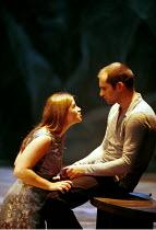 MACBETH by Shakespeare  set design: Mario Borza  lighting: Tanya Burns  costumes: Ken McDonald  director: Jude Kelly ~Lady Macbeth encourages Macbeth to kill: Mairead McKinley, Patrick O'Kane ~West Yo...