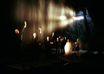 MACBETH by Shakespeare  set design: Mario Borza  lighting: Tanya Burns  costumes: Ken McDonald  director: Jude Kelly ~with water effect: (left) Patrick O'Kane (Macbeth), (entering from right) Mairead...