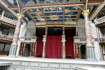 Canopy above the stage showing central trap representing ^supernal^ light, panels representing astrological figures ~and oak main stage posts rendered as Italian antico rosso marble columns with Corin...