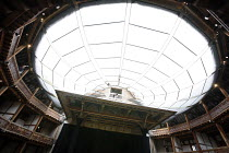 Shakespeare^s Globe <br>,interior showing translucent canopy used for TITUS ANDRONICUS 2006 season   ,Shakespeare^s Globe, London SE1                   05/2006            ,