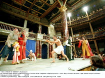 'THE COMEDY OF ERRORS' (Shakespeare)~left: Marcello Magni (Dromio of Ephesus/Syracuse), Vincenzo Nicoli (Antipholus of Ephesus/Syracuse)   centre: Harry Gostelow (Dr Pinch)   right: Yolanda Vasquez (A...