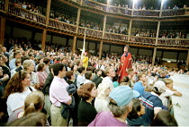 'THE COMEDY OF ERRORS' (Shakespeare)~centre, l-r: Marcello Magni (Dromio of Ephesus/Dromio of Syracuse), Vincenzo Nicoli (Antipholus of Ephesus/Antipholus of Syracuse)~Shakespeare's Globe, London SE1...