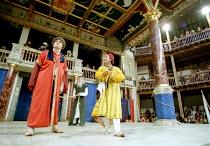 'THE COMEDY OF ERRORS' (Shakespeare)~l-r: Vincenzo Nicoli (Antipholus of Ephesus/Antipholus of Syracuse), Marcello Magni (Dromio of Ephesus/Dromio of Syracuse)~Shakespeare's Globe, London SE1...