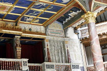 Canopy above the stage showing (top left) central trap representing ^supernal^ light, panels representing astrological figures ~and oak pillar rendered as Italian antico rosso marble column with Corin...