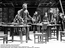 MACBETH  by Shakespeare  set design: Chris Dyer  costumes: Poppy Mitchell  lighting: Howard Eaton  director: Howard Davies ~Macbeth 'sees' Banquo's ghost: Bob Peck (Macbeth ~,Royal Shakespeare Company...