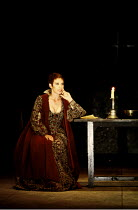 MACBETH  by Shakespeare  set design: Chris Dyer  costumes: Poppy Mitchell  lighting: Howard Eaton  director: Howard Davies ~Sara Kestelman (Lady Macbeth)~Royal Shakespeare Company (RSC), Barbican Thea...