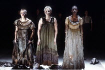 MACBETH  by Shakespeare  set design: Chris Dyer  costumes: Poppy Mitchell  lighting: Howard Eaton  director: Howard Davies ~Act 1/i - the witches (l-r: Katy Behean, Lesley Sharp, Josette Simon) ~Royal...