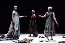 MACBETH  by Shakespeare  set design: Chris Dyer  costumes: Poppy Mitchell  lighting: Howard Eaton  director: Howard Davies ~the witches - l-r: Josette Simon, Katy Behean, Lesley Sharp~Royal Shakespear...