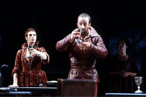 MACBETH  by Shakespeare  set design: Chris Dyer  costumes: Poppy Mitchell  lighting: Howard Eaton  director: Howard Davies ~banquet scene: Sara Kestelman (Lady Macbeth), Bob Peck (Macbeth)~Royal Shake...