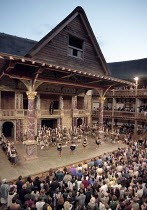 interior   showing stage, roof and audience ~during performance of UMABATHA (The Zulu Macbeth)~Shakespeare^s Globe, London SE1                   08/1997