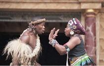UMABATHA  The Zulu Macbeth  after Shakespeare  written & directed by Welcome Msomi ~Thabani Patrick Tshanini (Mabatha/Macbeth), Dieketseng Mnisi (Kamadonsela/Lady Macbeth)~Shakespeare's Globe, London...