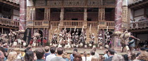 UMABATHA  The Zulu Macbeth  after Shakespeare  written & directed by Welcome Msomi ~company, warriors, audience~Shakespeare's Globe, London SE1  08/1997