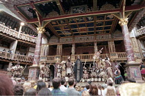 UMABATHA  The Zulu Macbeth  after Shakespeare  written & directed by Welcome Msomi ~company, warriors, full stage, audience~Shakespeare's Globe, London SE1  08/1997