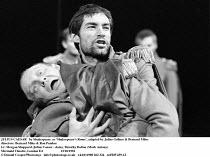 """JULIUS CAESAR   by Shakespeare  as """"Shakespeare""""s Rome"""", adapted by Julius Gellner & Bernard Miles   ,directors: Bernard Miles & Ron Pember<br>,l-r: Morgan Sheppard (Julius Caesar - slain), Timothy Da..."""