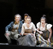 LA CENERENTOLA   by Rossini   conductor: Vladimir Jurowski   original director: Peter Hall <br>,l-r: Alessandro Corbelli (Don Magnifico), (part hidden) Lucia Cirillo (Tisbe), Ruxandra Donose (Angelina...