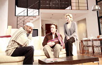 THE PAIN AND THE ITCH   by Bruce Norris   director: Dominic Cooke <br>,l-r: Abdi Gouhad (Mr Hadid), Matthew Macfayden (Clay), Sara Stewart (Kelly),Jerwood Theatre Downstairs / Royal Court Theatre, Lon...