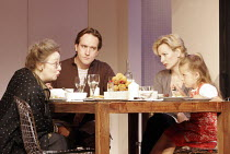 THE PAIN AND THE ITCH   by Bruce Norris   director: Dominic Cooke <br>,telling Kayla to eat her veg - l-r: Amanda Boxer (Carol), Matthew Macfayden (Clay), Sara Stewart (Kelly), Shannon Kelly (Kayla),J...