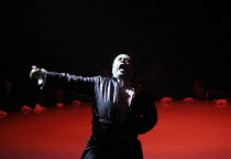 DAS RHEINGOLD   by Wagner   conductor: Anthony Negus   design: Kjell Torriset   director: Alan Privett <br>,Nicholas Folwell (Alberich) with the ring,Longborough Festival Opera, Gloucestershire, Engla...