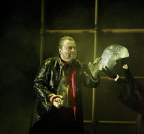 DAS RHEINGOLD   by Wagner   conductor: Anthony Negus   design: Kjell Torriset   director: Alan Privett <br>,Nicholas Folwell (Alberich) with the gold ring on his right hand and the Tarnhelm (right),Lo...