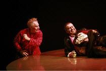 DAS RHEINGOLD   by Wagner   conductor: Anthony Negus   design: Kjell Torriset   director: Alan Privett <br>,l-r: Peter Bronder (Loge), Nicholas Folwell (Alberich) with the ring,Longborough Festival Op...