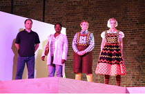 ELEPHANT AND CASTLE   directed & devised by Tim Hopkins ,with Pippa Nissen (design), Mira Calix & Tansy Davies (music) and Blake Morrison (text) <br> ,indoor scene - l-r: Richard Morris (Father), Jo R...